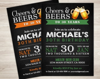 Surprise 30th birthday invitation for men cheers beers 50th birthday invitation for men cheers beers invitation beer birthday invitation surprise birthday chalkboard big 50 diy printable filmwisefo