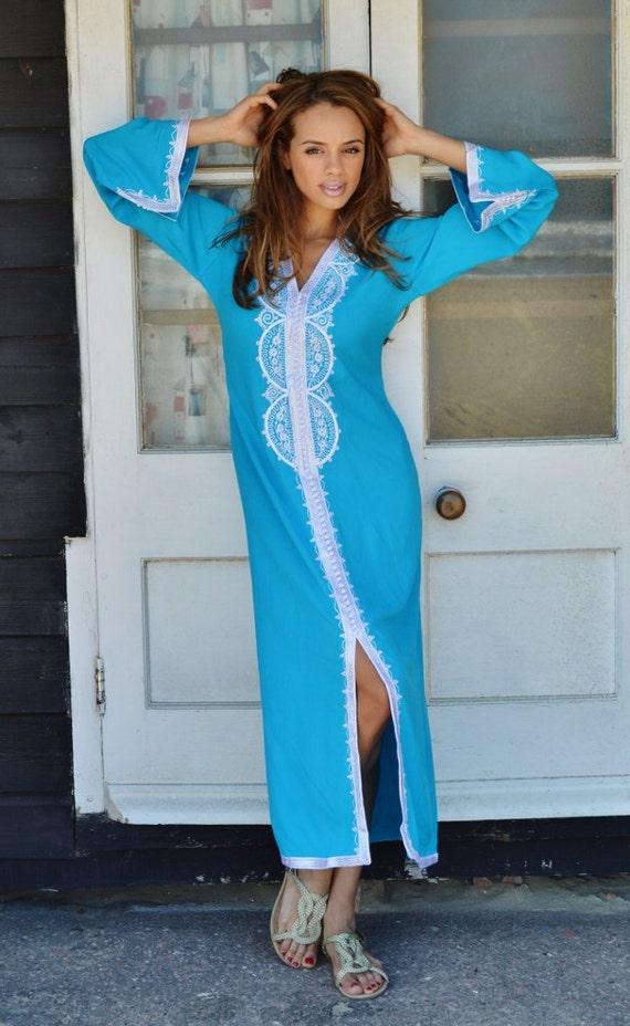 Bridesmaid Gift, Bridesmaid robe, Turquoise Moroccan Resort Kaftan-moroccan kaftan, beach wedding, resort wedding, Ramadan, Eid