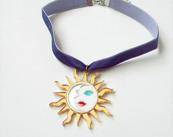 Colorful SUN and MOON Purple Adjustable Velvet Choker with Acrylic Pendant / 90's / Witchy / Celestial