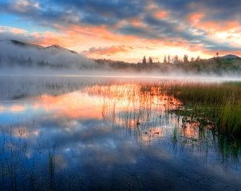 Sunrise Photography, Lake Placid, Whiteface Mountain, Adirondack Mountains, Adirondack Fine Art, Sunrise Print, Connery Pond Sunrise Photo