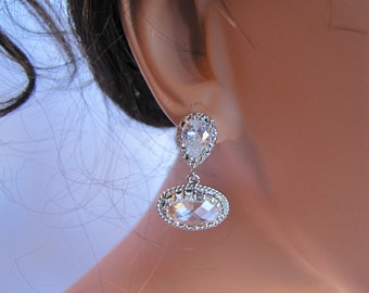 Elegant Bridal Earrings, Ellipse Bezeled base paired with pear drop cut cubic zirconia sterling silver ear posts - BE109