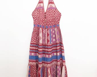1970s indian cotton phool aztec print halter summer dress
