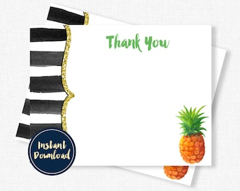 Pineapple Thank You Cards, Black and Gold Thank You, Birthday Thank You, Blank Thank You, Printable INSTANT DOWNLOAD