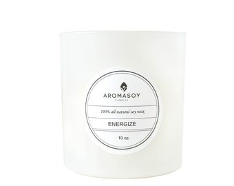 ENERGIZE Soy Candle / Grapefruit Candle / Citrus Candle / Gift Idea / Home Decor / Minimalist Decor / White Home Decor / Mothers Day