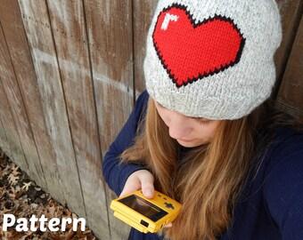 Gamer Love Hat Knitting Pattern : Adult Hat Gamer Gear, 8-bit Heart, DIY Gift
