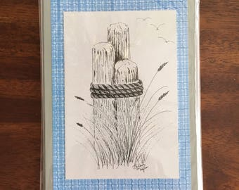 Distant Seagulls Art Print Handmade Greeting Card Beach