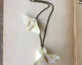 Birth - Handmade Cotton and Silk Organza Ivory Bombyx Mori (Silkworm) Moth Butterfly Necklace with Real Silk Cocoon - One of a Kind