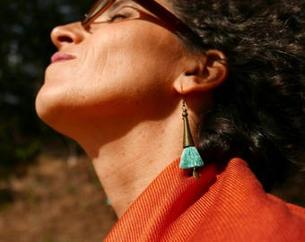 Long gypsy earrings, Women gift, Dangle Boho earrings, Gift for her, Bohemian tassel earrings, Lightweight, Christmas gift, Everyday earring
