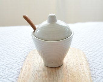 Hand Made Ceramic Salt Cellar from Bali with Wooden Spoon