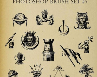 Set of FOURTEEN Photoshop Brushes Icons Symbols Heraldic Family Crest Digi Stamps  Clip Art Download