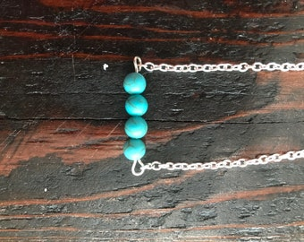 Turquoise beaded and silver chain choker