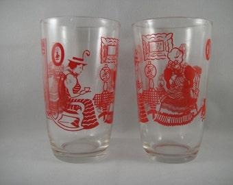 Swanky Swigs Pair of Juice Glasses Red Graphics Women Drinking Tea