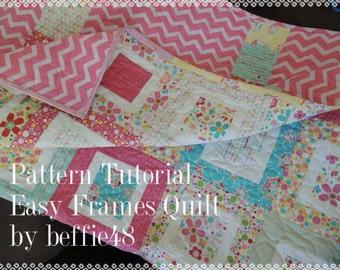 Easy Frames Quilt Tutorial, pdf. Easy,Use Charm Pks, Jelly Rolls