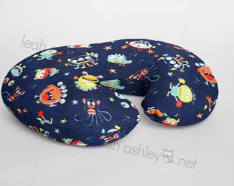 Boppy® Cover, Nursing Pillow Cover - Navy Monsters MINKY - (Navy, Orange, Red, Bright Lime, Mint, Light Teal, Gray) - BC1
