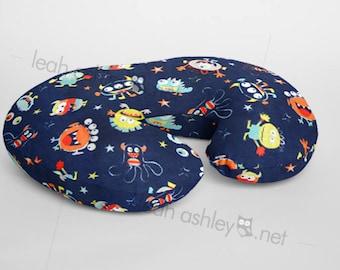 Boppy® Cover, Nursing Pillow Cover - Navy Monsters MINKY - (Navy, Orange, Red, Bright Lime, Mint, Light Teal, Gray) - BC1