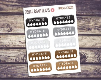 Neutral Colored Hydrate Planner Stickers - Set of 10