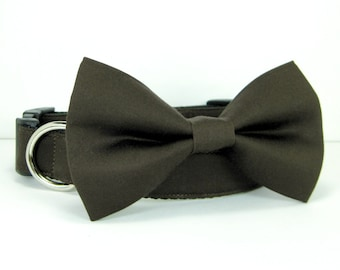 Wedding dog collar-Brown Dog Collars with bow tie set  (Mini,X-Small,Small,Medium ,Large or X-Large Size)- Adjustable