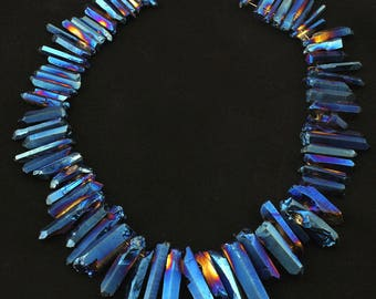 15%OFF Blue Titanium Quartz Briolettes Stick Point Pendants strand,Natural Stones Raw Crystals Top Drilled Tusk Spike Bead for Necklace N110