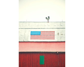 Red Barn Photograph, Red White Blue Patriotic Country Home Decor, Farm Photo Print, American Flag Art, Rooster Decor