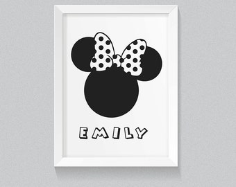 """MINNIE MOUSE Silhouette Minimalist Wall Decor Art 8x10"""" Digital Print, Personalised with your childs name! Minnie Mouse Wall Art Print girl"""