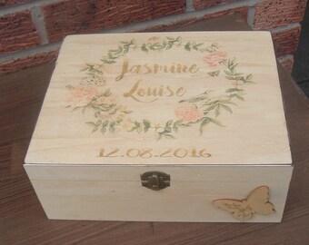 Vintage personalized wooden box keepsake, memory. christening baptism newborn  large box