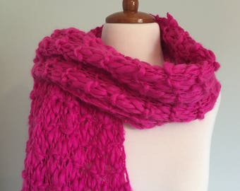 Large Dark Pink Hand Knitted Scarf