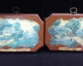 """Vintage Old Country Home and Country Mill Decoupage Wall Plaques 7"""" Wide 5"""" Long Handmade One of a Kind Previously Fifteen Dollars ON SALE"""