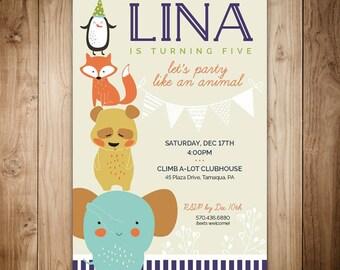 Party Like An Animal Birthday Invitation