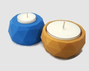 Reversible 3D Printed Geometric Candle Holder with 4 free tea light candles