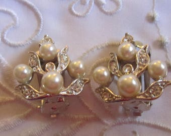 Vintage Silver Tone Faux Pearl and Clear Rhinestone Clip On Earrings by Marel