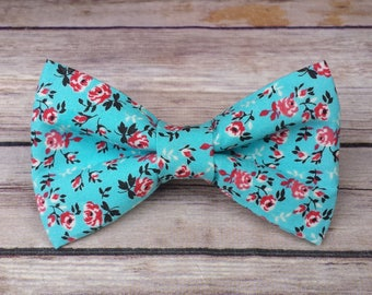 Floral Dog Bow Tie / Floral Cat Bow Tie /  Bow Tie  / Collar Bow Tie / Dog Lover Gift / Dog Accessories Neckwear / Girl Dog Bow Tie