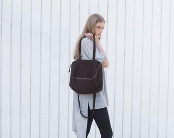 Chocolate Brown Leather Bag, Women Messenger Bag, Soft Leather Bag, Soft Leather Tote with Zipper