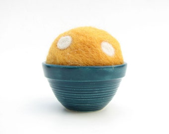 Needle Felted Pin Cushion with Hand made Ceramic Teal Pot