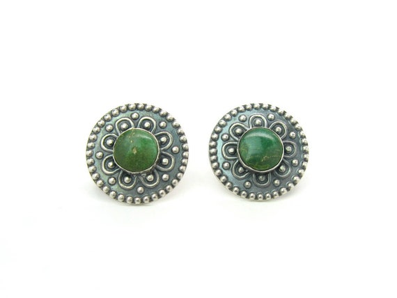 Vintage Southwestern Concho Style Sterling Silver Turquoise Earrings