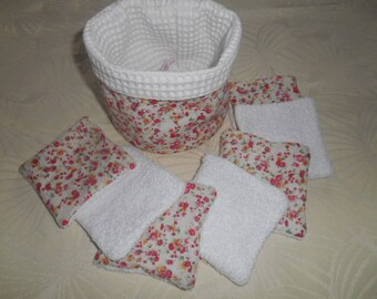 pot and wipes set bamboo - floral red - white honeycomb