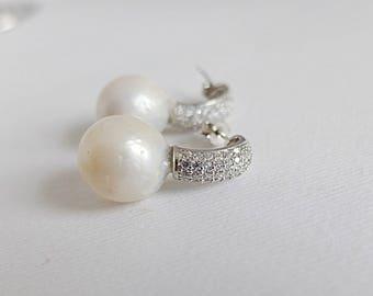 Bridal Earrings,Wedding Bridal Pearl and Cubic Zirconia Earrings CZ Post Earrings and large baroque pearls,CZ baroquepearl ,CZ Post earrings