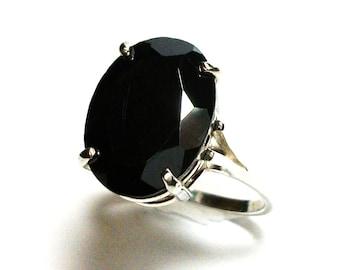 """Hematite, AAA hematite, hematite ring, solitaire ring, black ring, engagement ring, s 7 1/2  """"Turbine"""""""
