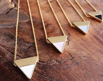 Valentines day, Minimalist Necklace, Geometric Necklace, bridesmaid gift, gift for her,  Layering, Triangle Necklace, delicate necklace,