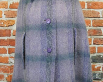 Vintage Edinburgh Woollen Mill mohair blend lilac cape lined no size fits UK 10 12 possibly 70's
