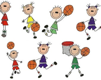 Basketball Sticks - INSTANT DOWNLOAD - 4x4 hoop - Machine Embroidery