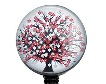 Red and Black Tree Retractable ID Badge Reel -  Name Badge Holder 204