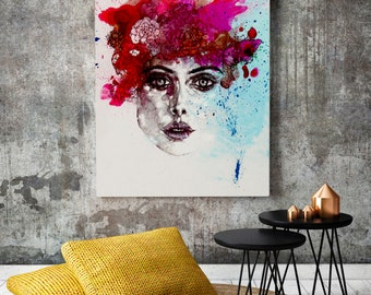 Frida- flowers- Fashion- Graphic- Art- Wall art- gift-  portrait-