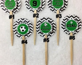 Set Of 12 Personalized 9th Birthday Party Soccer Cupcake Toppers (Your Choice Of Any 12)