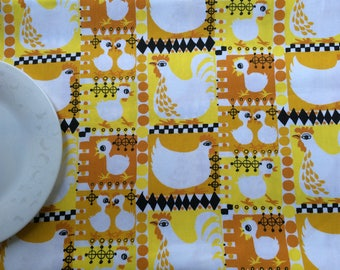 Scandinavian Cotton Tablecloth - Table runner - Table Linens - Easter chicks - Yellow/Mustard