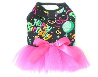 Pet dog clothing apparel Happy Birthday Harness Dress tutu XXXS-XL