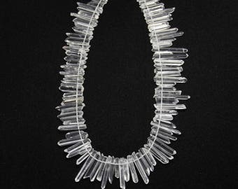 Approx 90PCS/str,Raw Natural Clear White Crystal Points Beads,Top Drilled,Polished Quartz Stone Pendant Jewelry