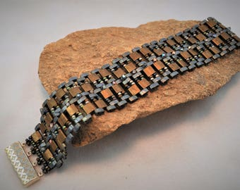 Grey and Bronze Beadwoven Cuff Bracelet with Swarovski Crystals, Tila Beads and Sterling Silver Box Clasp