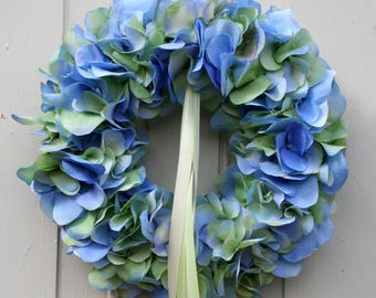 Fri-Collection Door wreath wreath hydrangea blue green with ribbons 27 cm