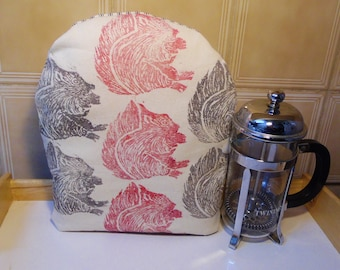 Squirrel Small/Tall Cafetiere/Coffee/French Press Cozy.Grey&Burgundy Hand Screen Printed Heavy Cotton,Polka Dot+Stripe.Country Kitchen Decor