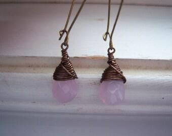 Pink Earrings - Briolette Earring -